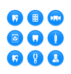 Teeth dental care stomatology dentist icons vector