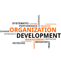word cloud - organization development vector image vector image