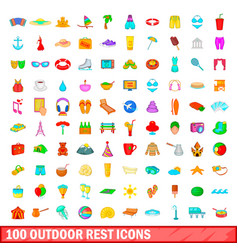 100 outdoor rest icons set cartoon style vector