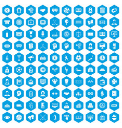 100 totalizator icons set blue vector