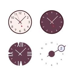 Set of four modern wall clocks vector