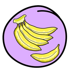 Fresh Banana Bunch on Round Purple Background vector image