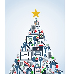 Real estate industry icons christmas tree vector