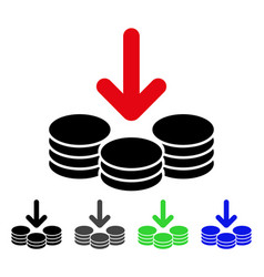 Income coins flat icon vector