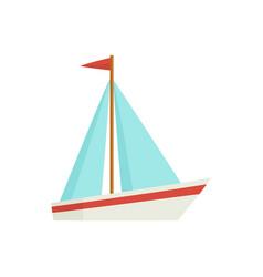 Flat cartoon little sailing ship boat sailboat vector