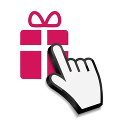 Mouse hand cursor on gift vector