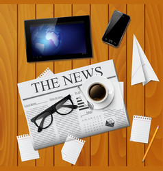 Cup of coffee newspaper tablet smartphone and g vector image