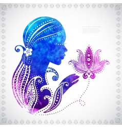 Beautiful watercolor girls silhouette with some vector