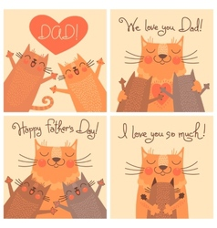 Sweet cards for fathers day with cats vector