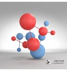 Molecular structure with spheres 3d vector