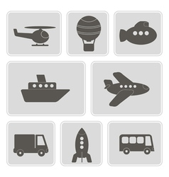 Icons with different types of transport vector