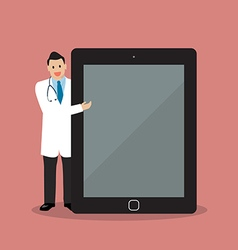 Doctor pointing to the screen of a tablet vector image