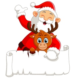 Santa waving and holding blank sign vector