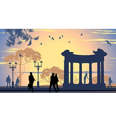 Avenue walking people vector