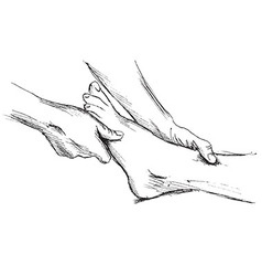 Hand sketch massage feet vector