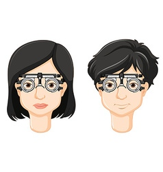 Test-glasses on man and woman head vector