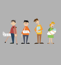 a set of characters visitors to the hospital vector image