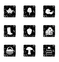 Autumn icons set grunge style vector