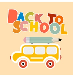 Back to School Colorful Title with Yellow Bus - vector image