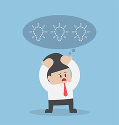 Businessman lost his idea with empty light bulb vector image vector image
