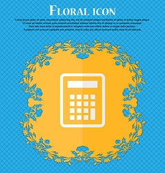 Calculator Floral flat design on a blue abstract vector image
