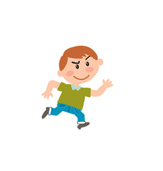 cartoon character boy running vector image vector image