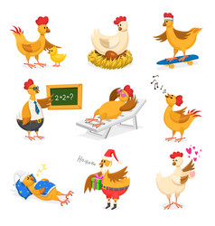 Chicken cartoon chick character on vector