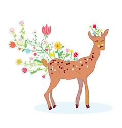 Deer and flower spring background vector