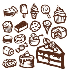 Dessert and baking icons vector image