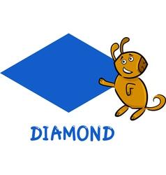 diamond shape with cartoon dog vector image vector image
