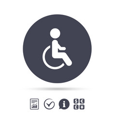disabled sign icon human on wheelchair symbol vector image