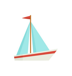Flat cartoon little sailing ship boat sailboat vector