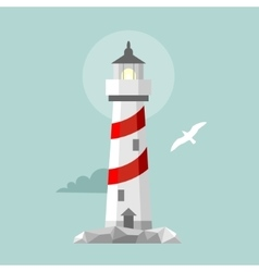 flat lighthouse Cartoon landscape vector image