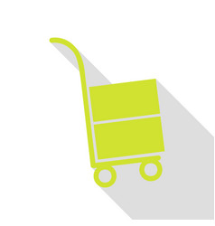 Hand truck sign pear icon with flat style shadow vector