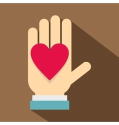 Hand with heart icon flat style vector image