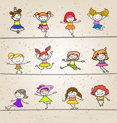happy girls vector image