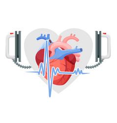 Human heart modern defibrillator and piece of vector