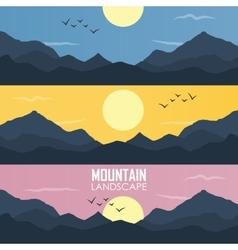 Panorama of mountain ridges vector