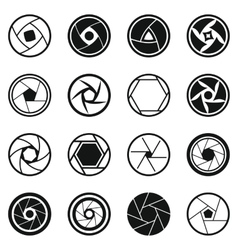 Photo diaphragm icons set simple style vector