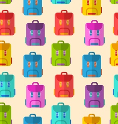 Seamless pattern with colorful school rucksacks vector