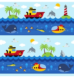 seamless pattern with sea and underwater vector image vector image