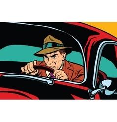 Serious retro man driving a car vector image vector image