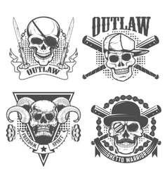 Set of gangster emblems Skull with two crossed vector image