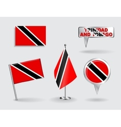 Set of Trinidad and Tobago pin icon map pointer vector image vector image