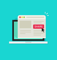 Sharing website page via share button on browser vector