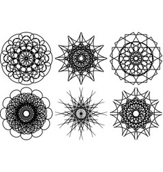 Spirograph shapes design elements vector