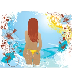 summer abstract background with girl vector image vector image