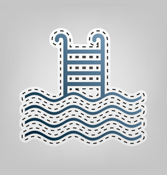Swimming pool sign blue icon with outline vector