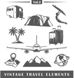 Vintage travel elements vector