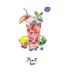 watercolor glass fruit tea vector image